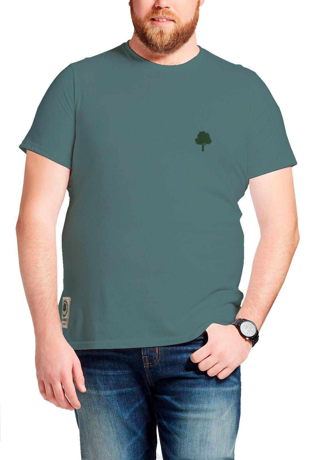 Camiseta Amazônia Básica Árvore Bordada - Cinza Escuro