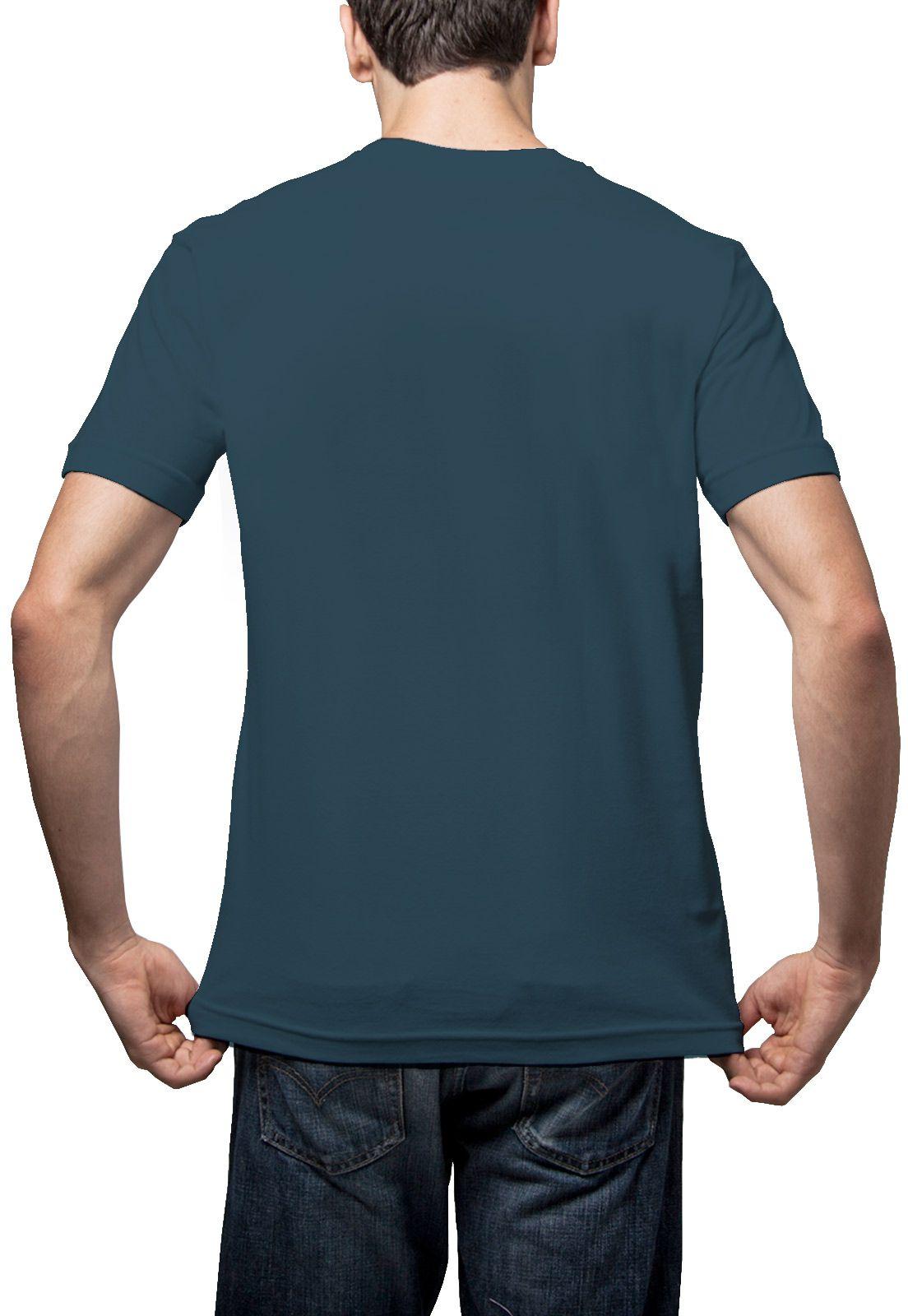 Camiseta Amazônia Básica Árvore Bordada Gola V - Azul Escuro