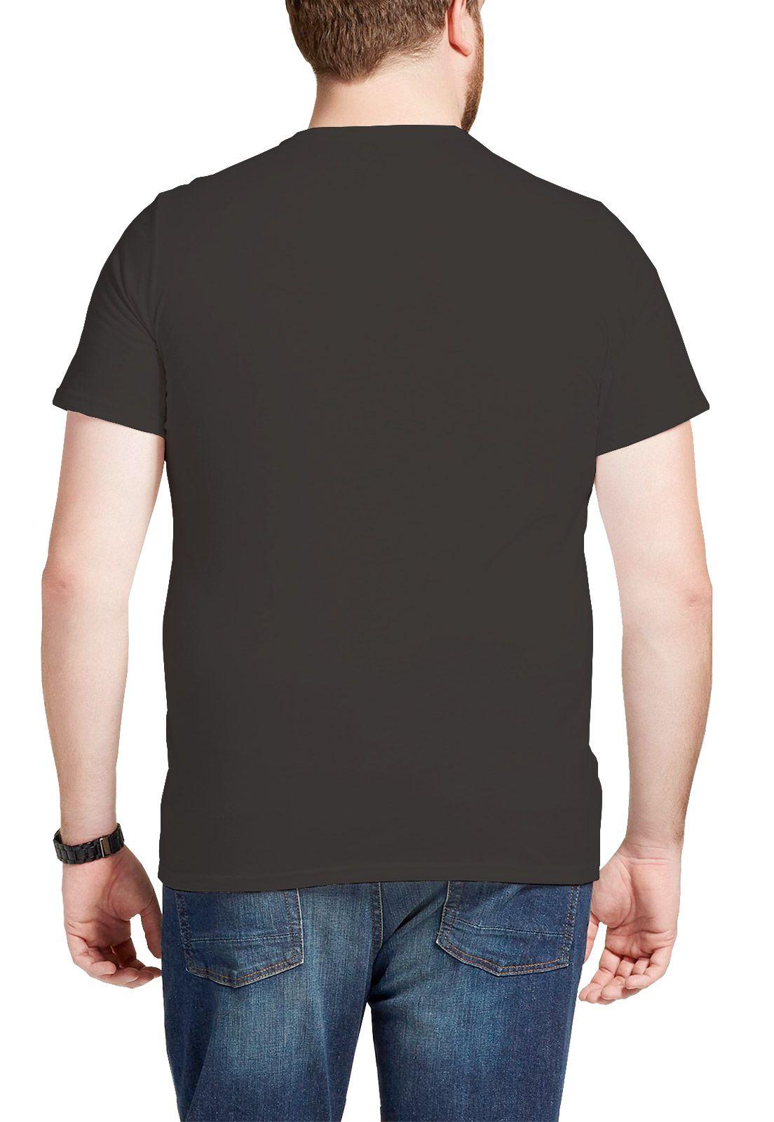 Camiseta Amazônia Básica Árvore Bordada Gola V - Cinza