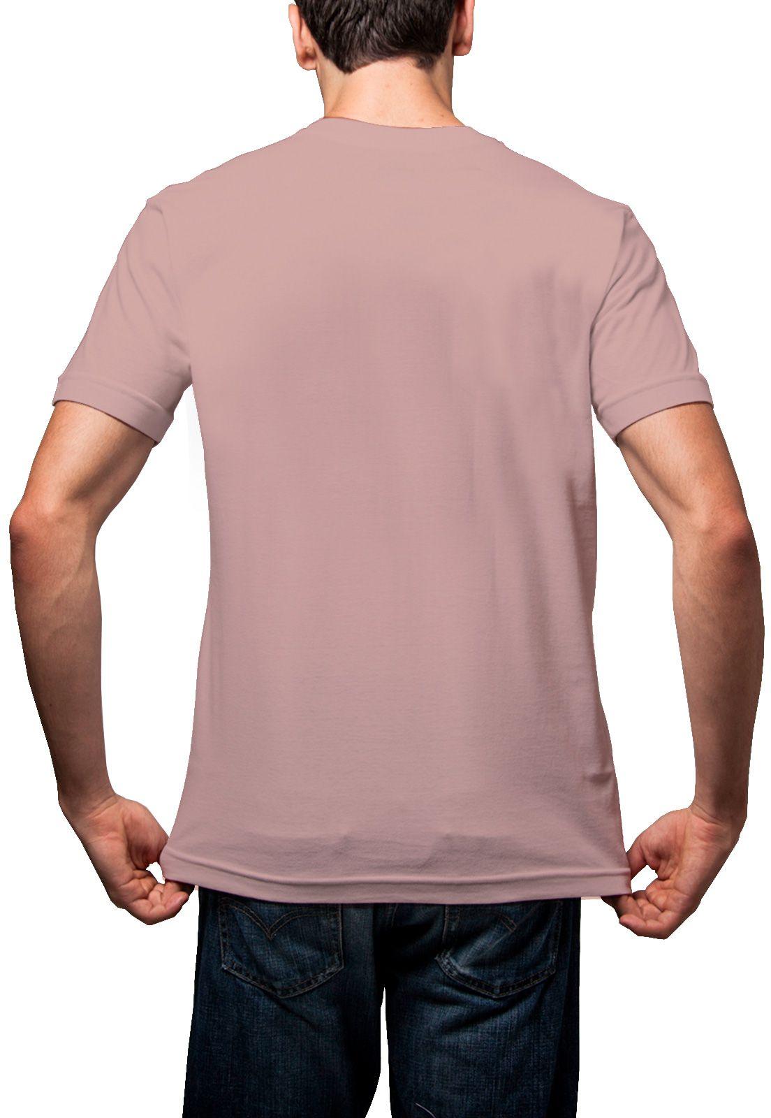 Camiseta Amazônia Básica Árvore Bordada Gola V - Rosa Claro