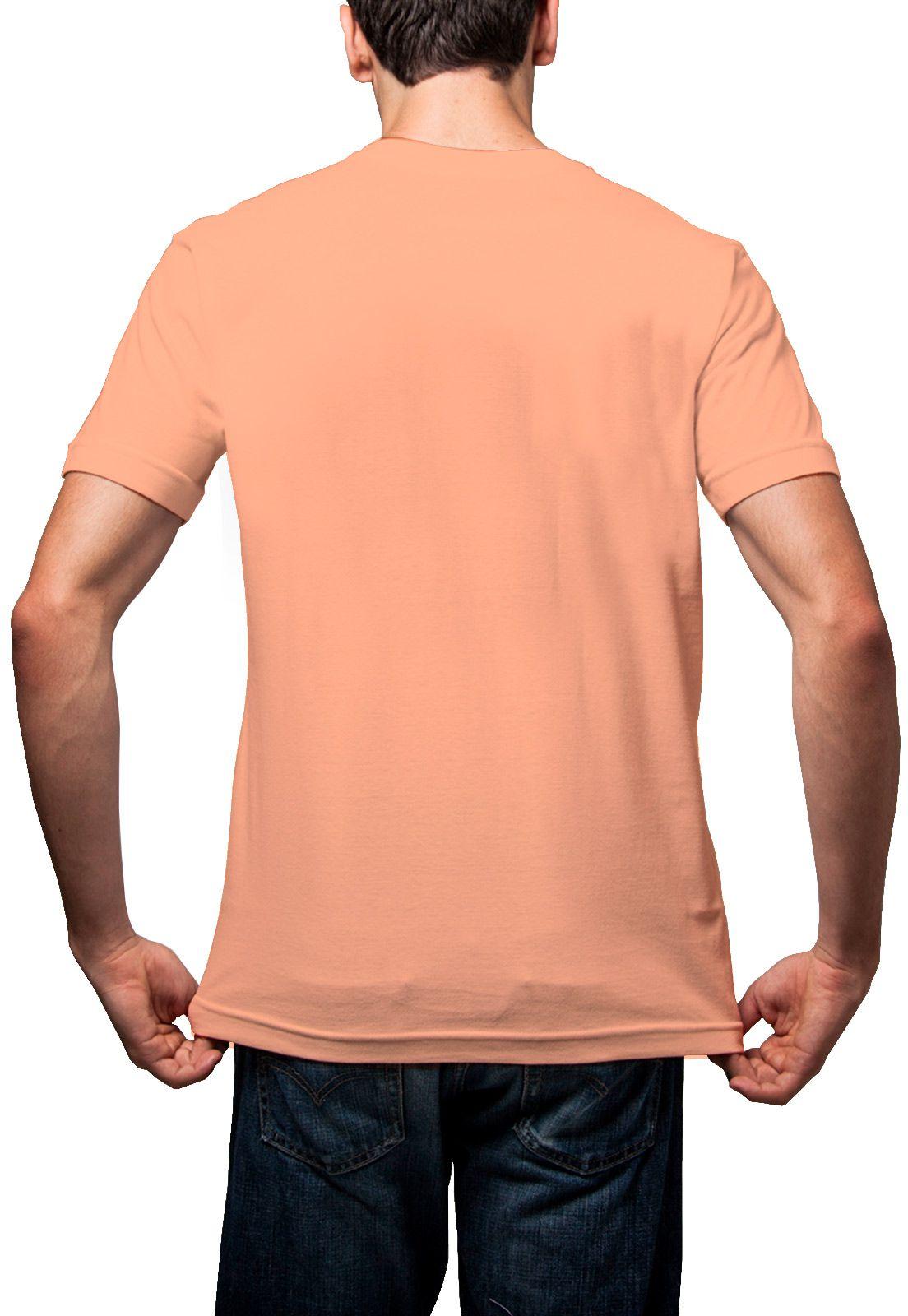 Camiseta Amazônia Básica Árvore Bordada Gola V - Salmão