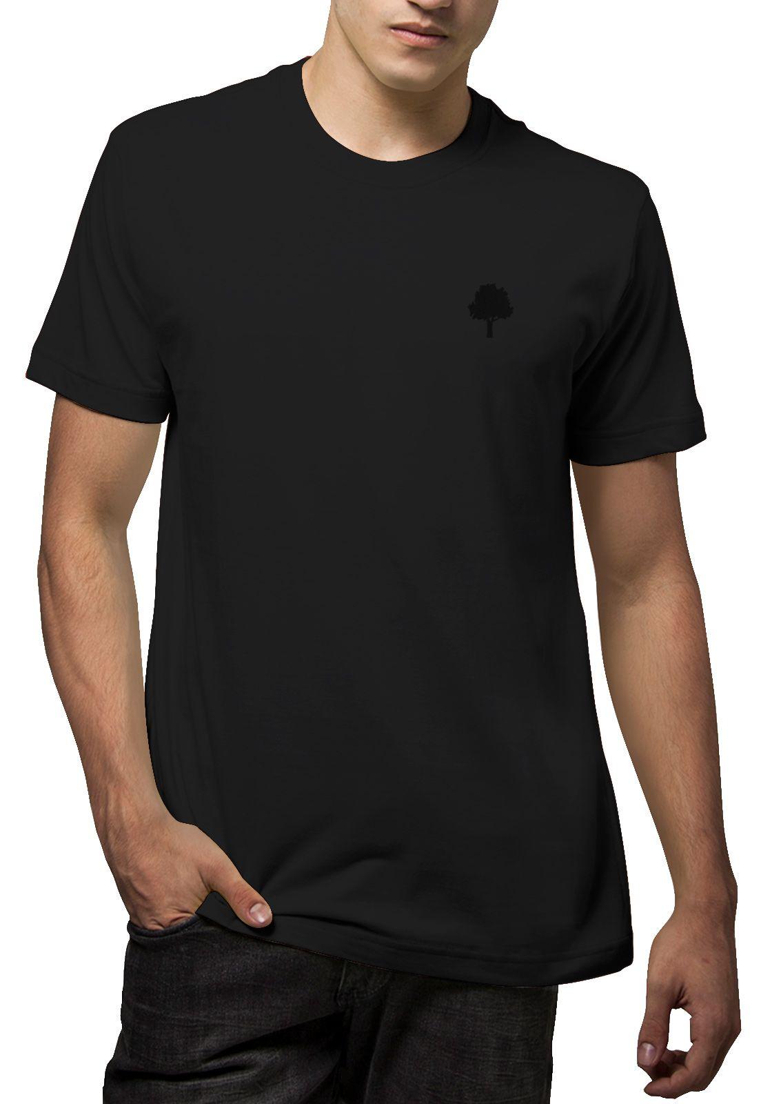 Camiseta Amazônia Básica Árvore Bordada - Preto