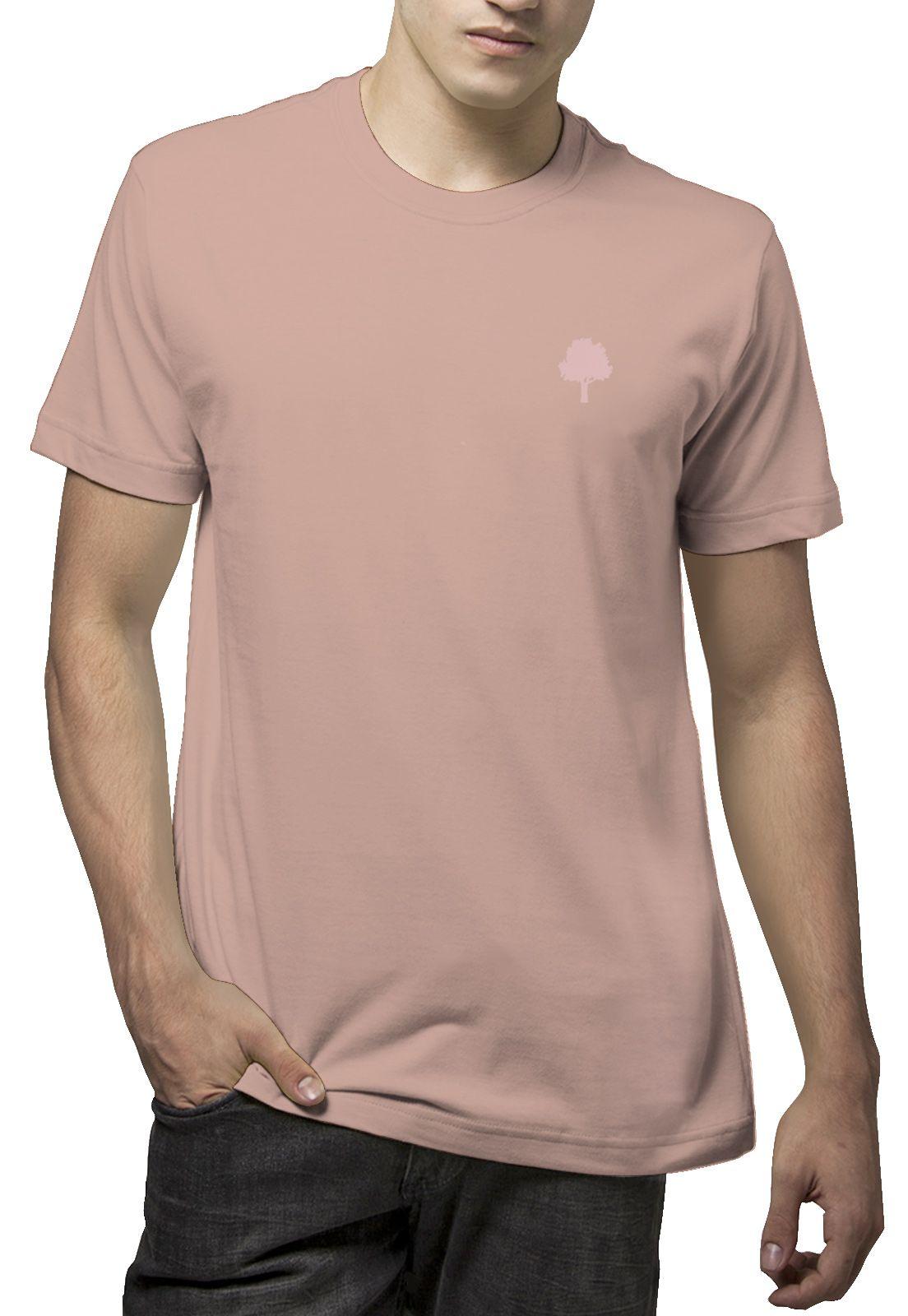 Camiseta Amazônia Básica Árvore Bordada - Rosa Claro
