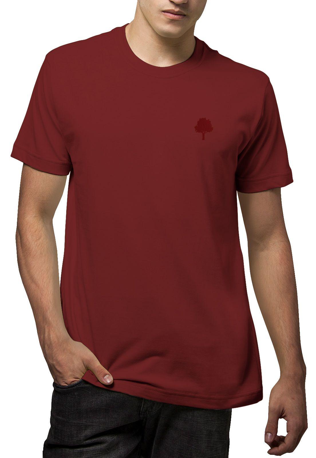 Camiseta Amazônia Básica Árvore Bordada - Vinho
