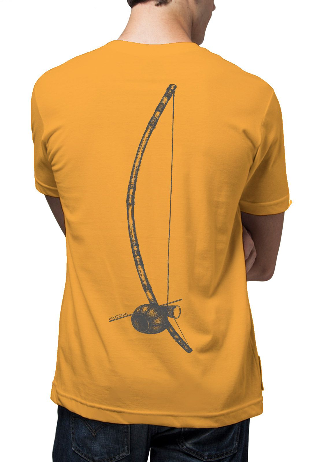 Camiseta Amazônia Berimbau - Amarelo Escuro