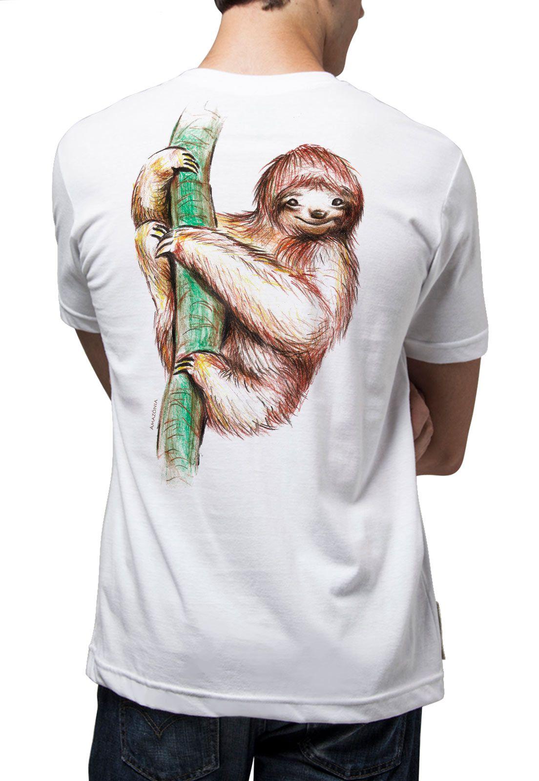 Camiseta Amazônia Bicho Preguiça - Branco