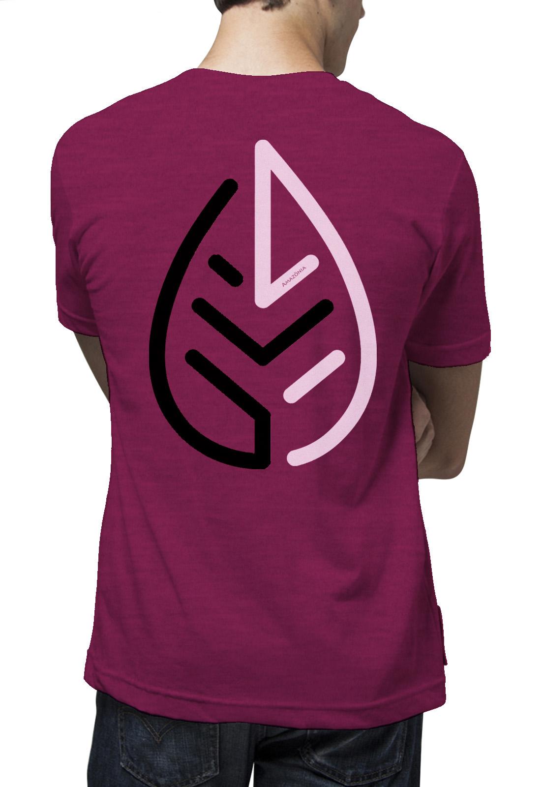 Camiseta Amazônia Bicolor Folha - Mescla Vinho