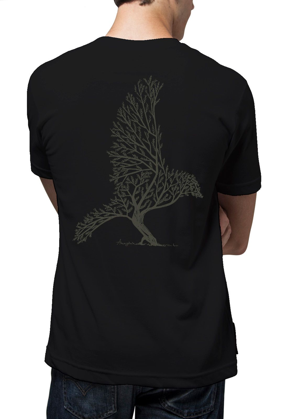Camiseta Amazônia Bird Tree - Preto