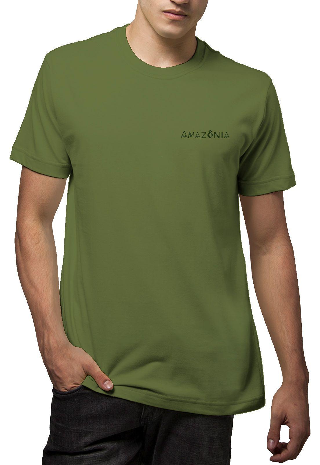 Camiseta Amazônia Bússola Logo - Verde Escuro