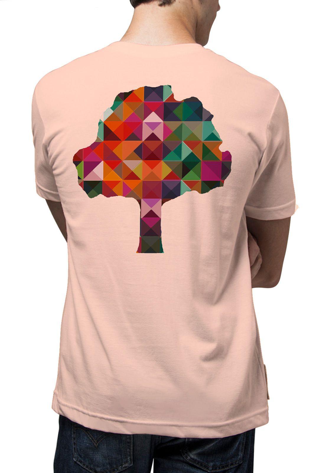 Camiseta Amazônia Caleidoscópio Logo - Salmao