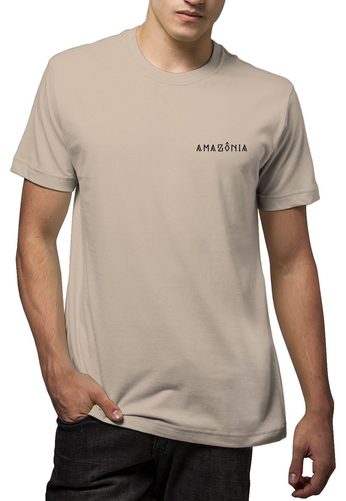 Camiseta Amazônia Cocar Indígena - Bege