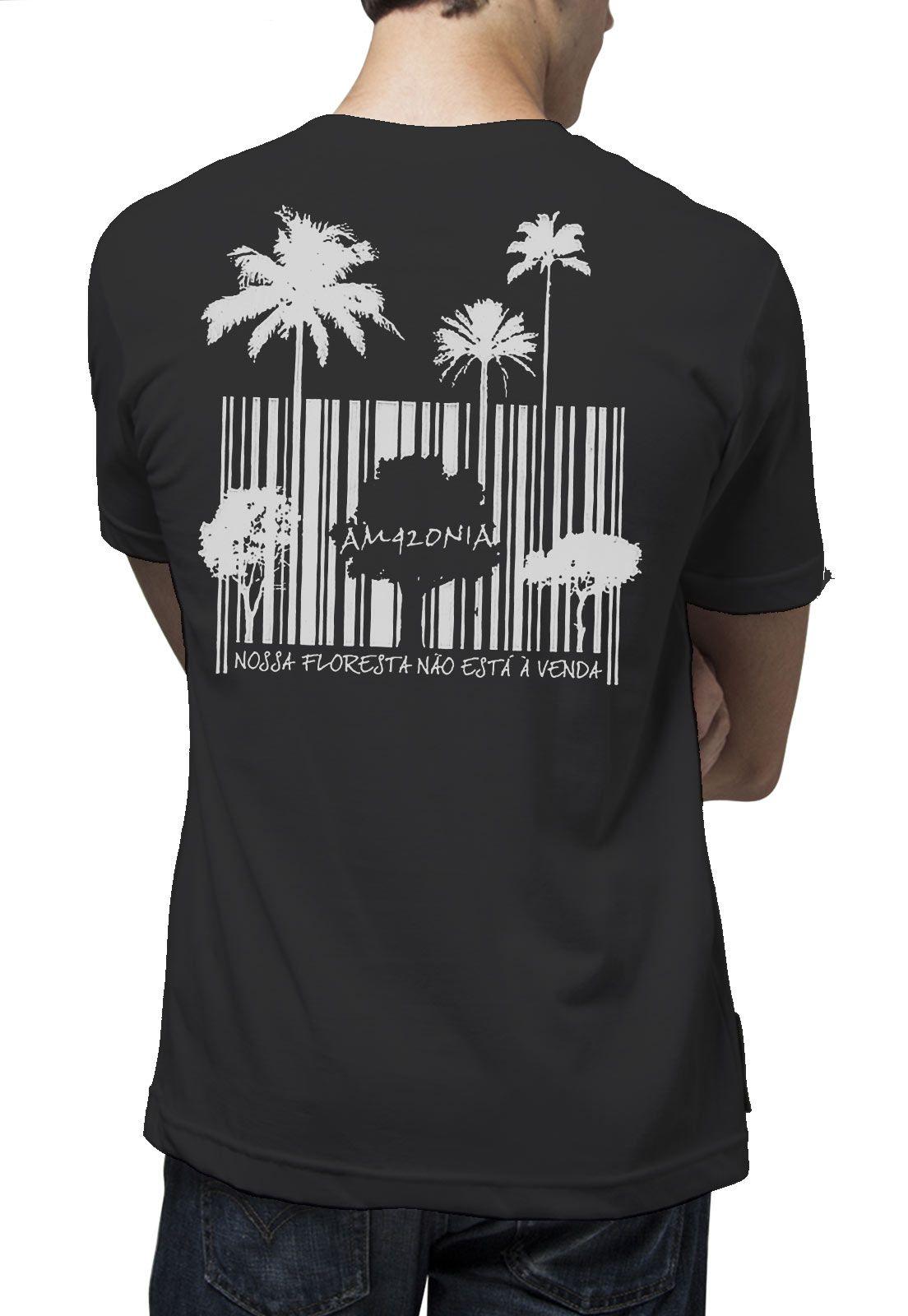 Camiseta Amazônia Código de Barras - Preto