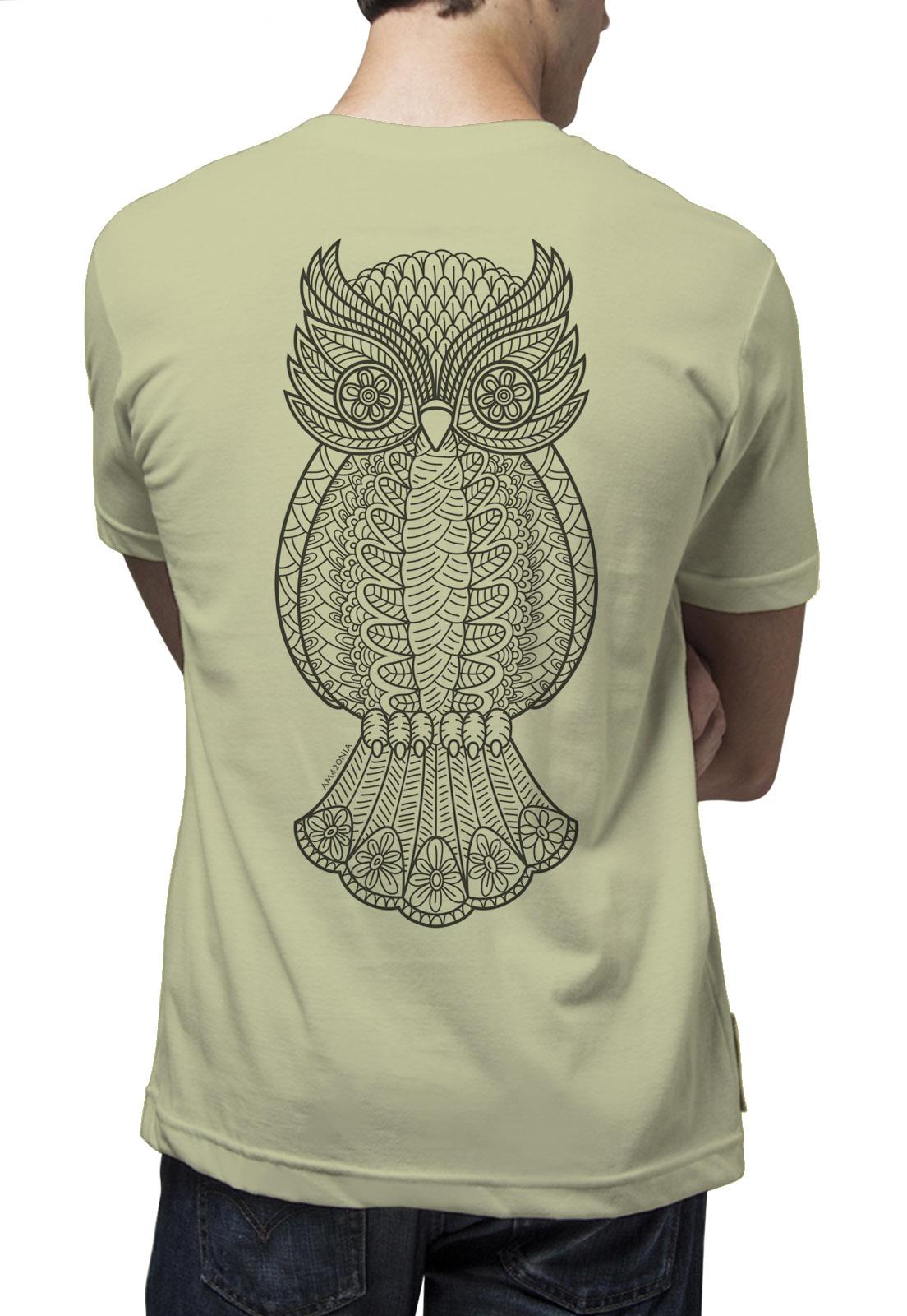 Camiseta Amazônia Coruja Grafismo - Verde Claro