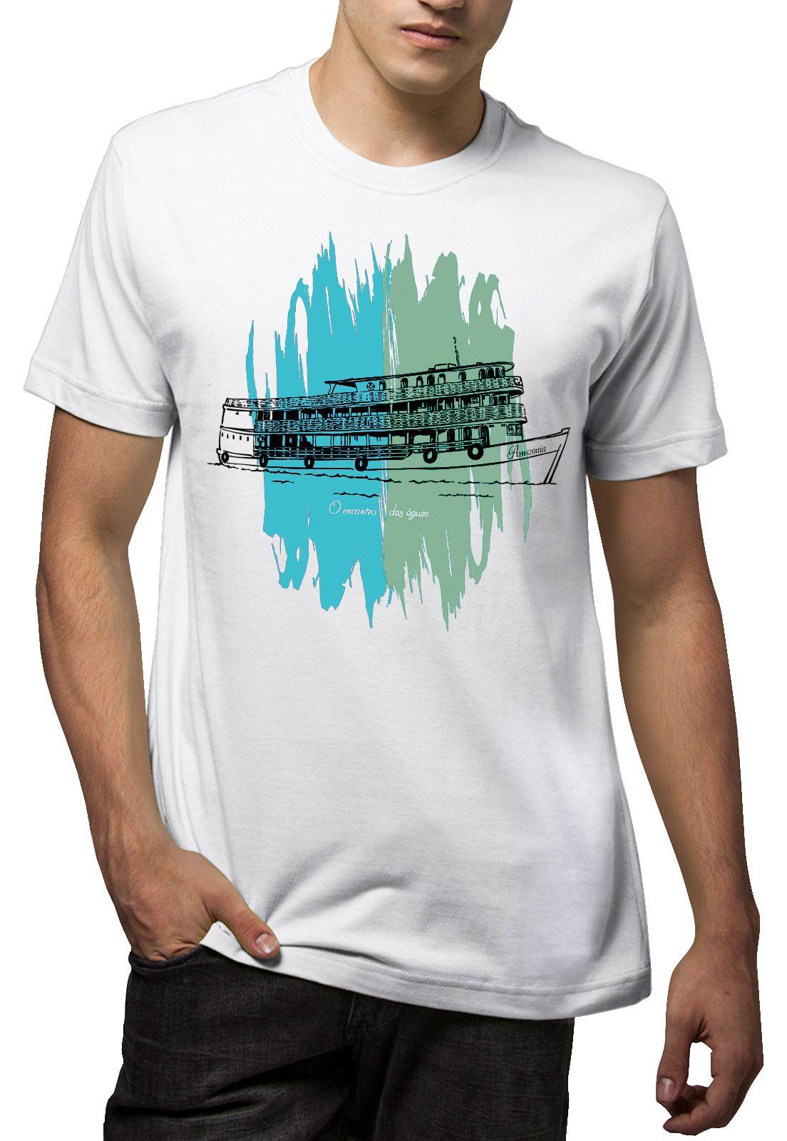 Camiseta Amazônia Encontro das Águas - Branco