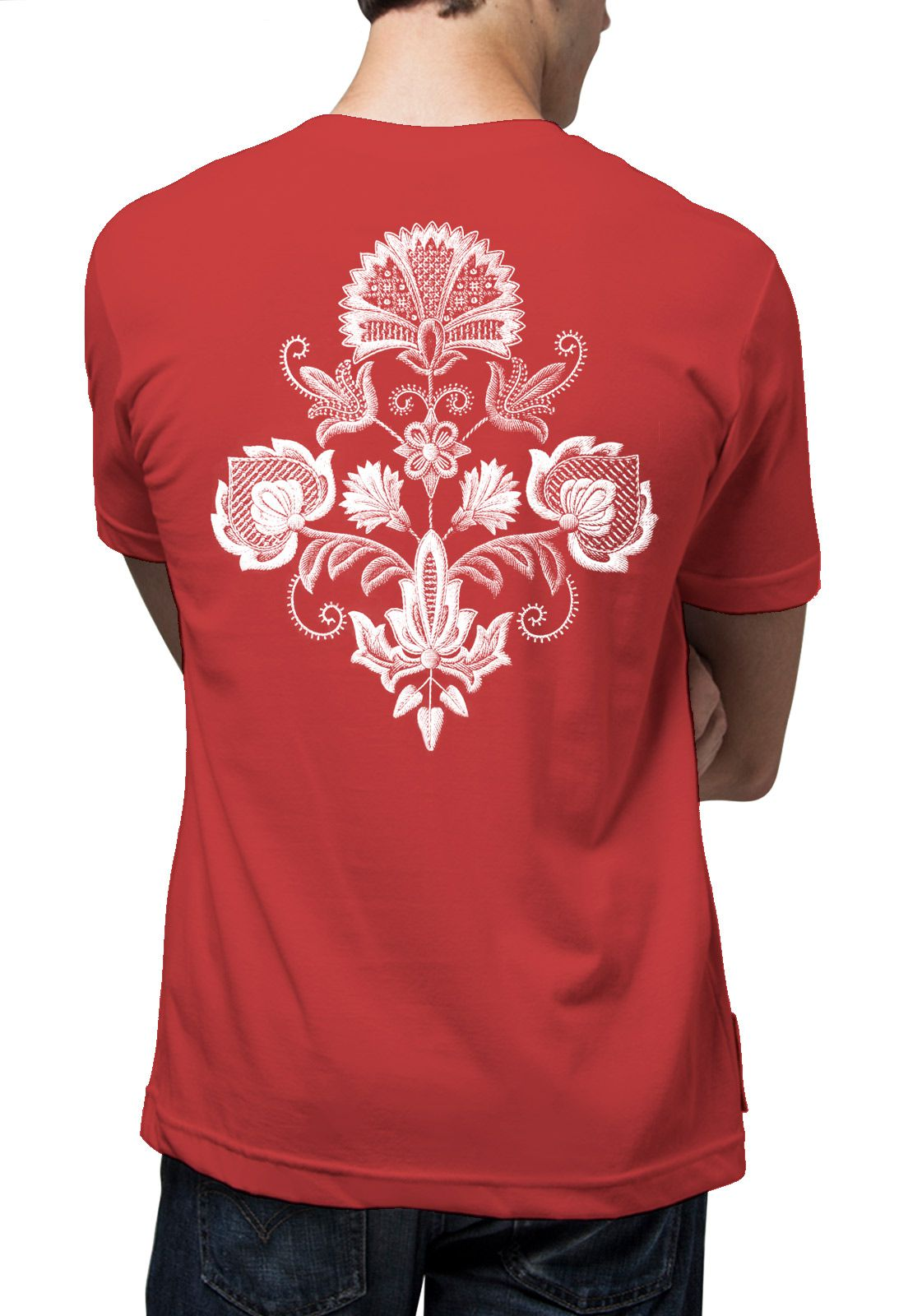 Camiseta Amazônia Flor Arabesco - Vinho