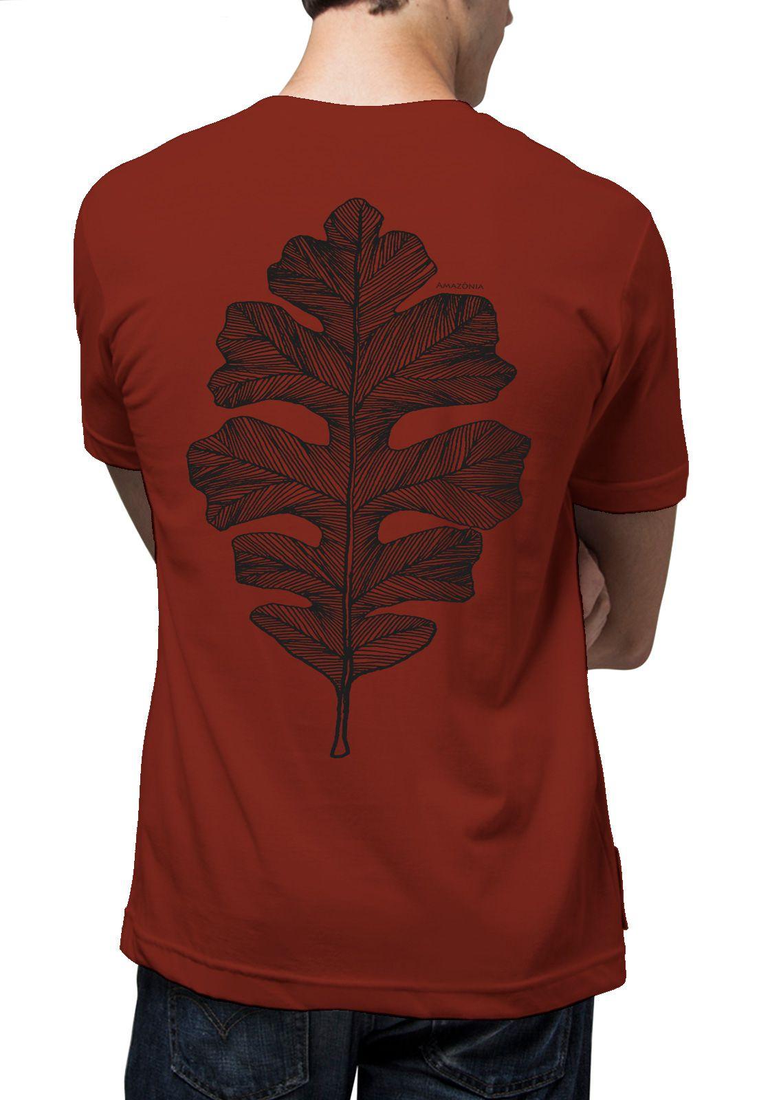 Camiseta Amazônia Folha Arte Gráfica - VERMELHO