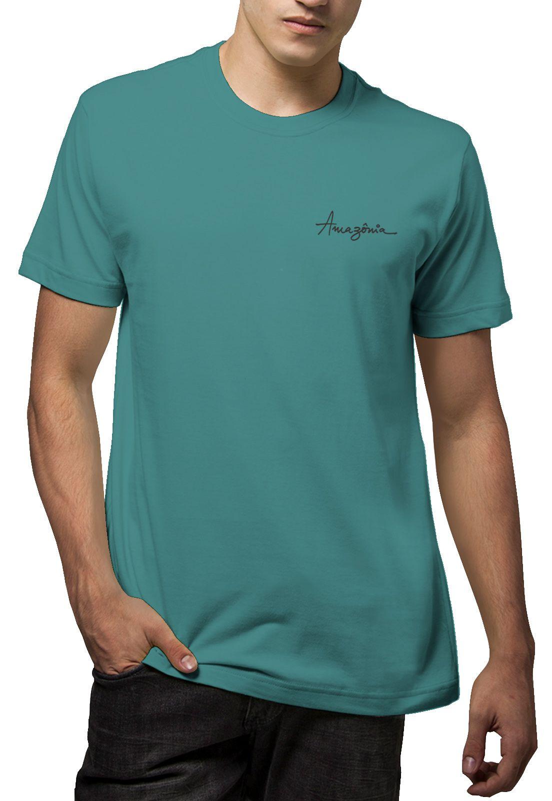 Camiseta Amazônia Folha Grande - Azul