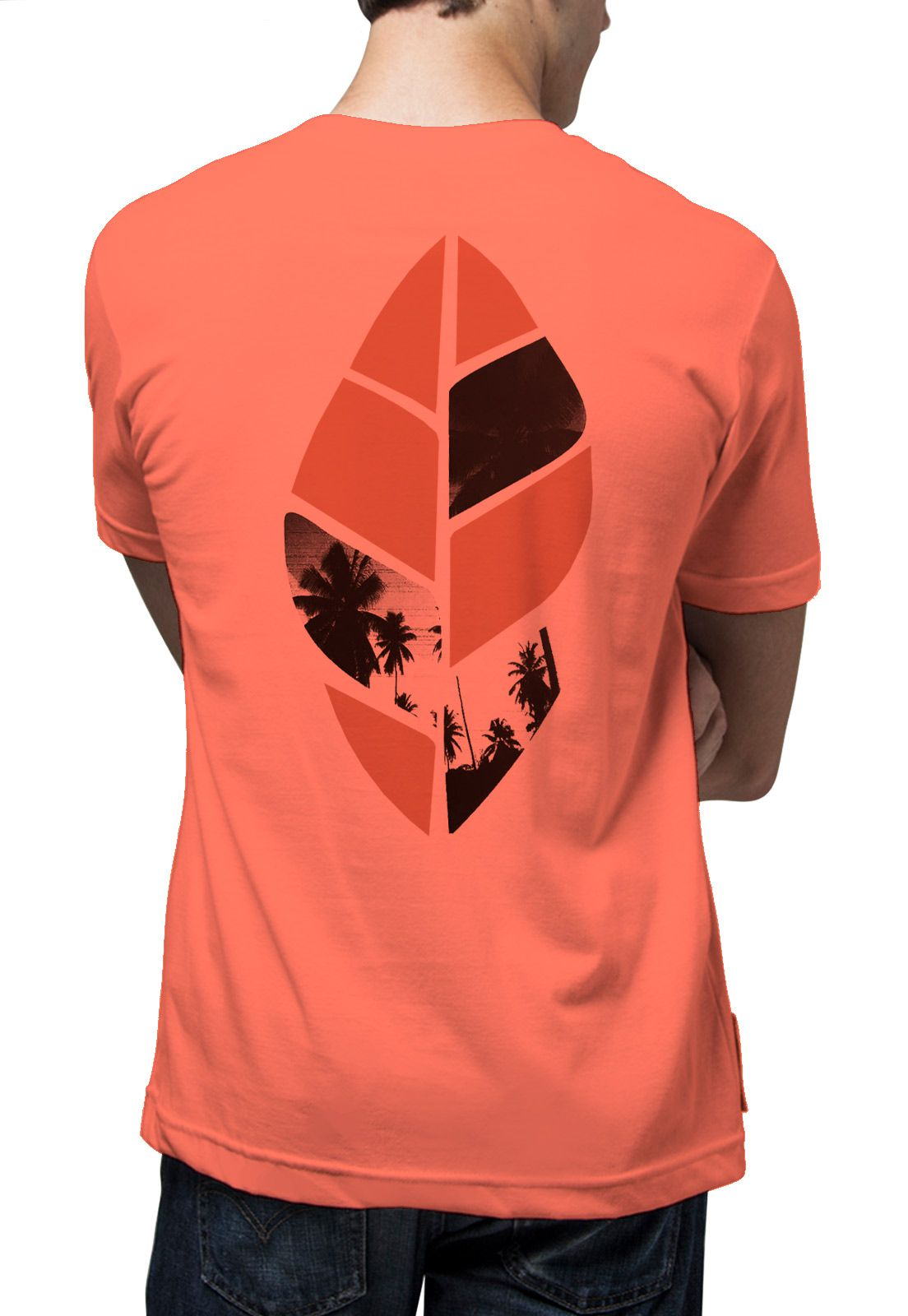 Camiseta Amazônia Folha Paisagem - Salmão