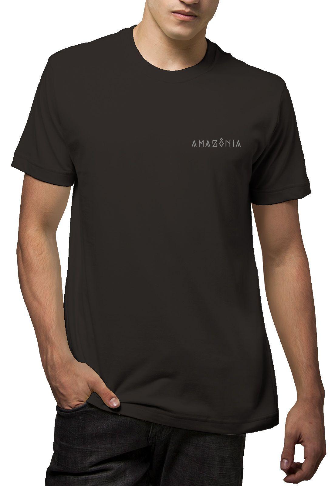 Camiseta Amazônia Folha Tribal - Cinza
