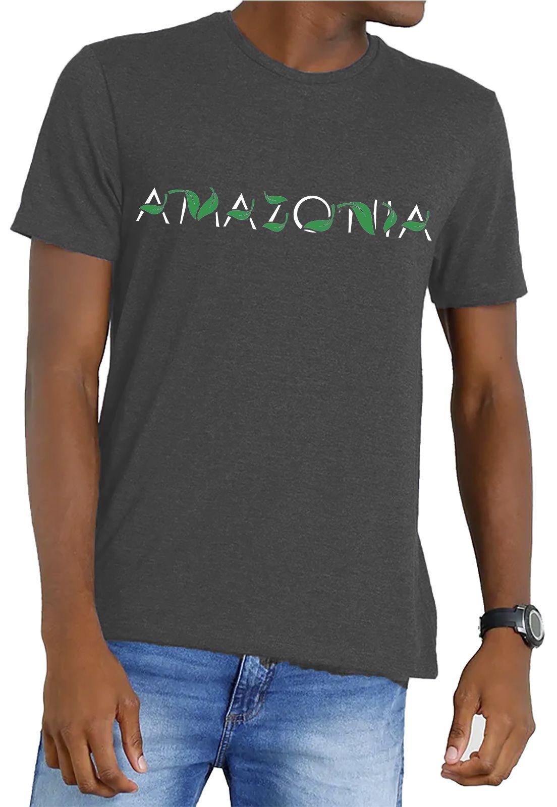 Camiseta Amazônia Garrafa Pet Escrito Folhas - Preto