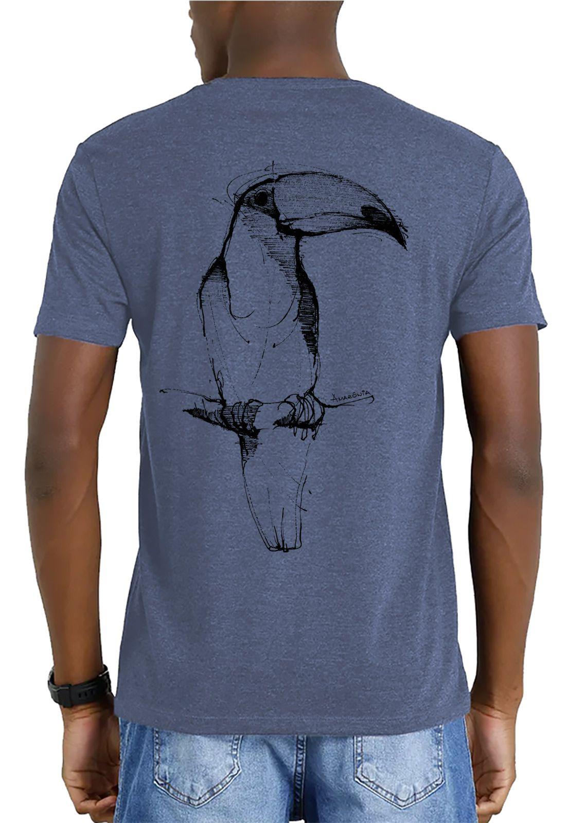 Camiseta Amazônia Garrafa Pet Tucano Desenho - Azul