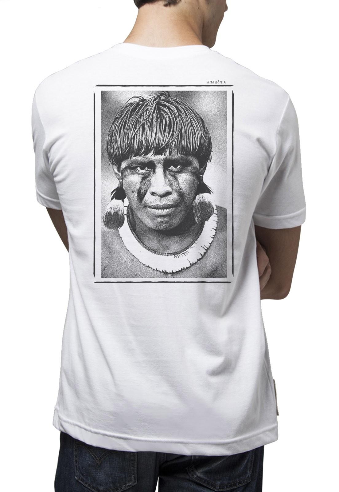 Camiseta Amazônia Índio P&B - Branco