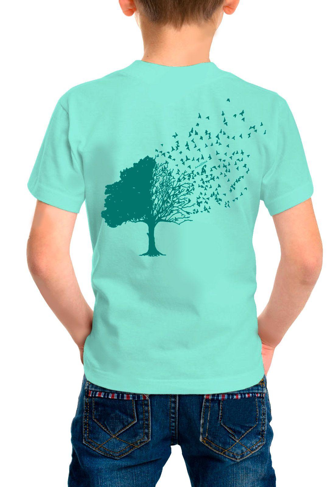 Camiseta Amazônia Infantil Árvore Pássaros - Verde Claro