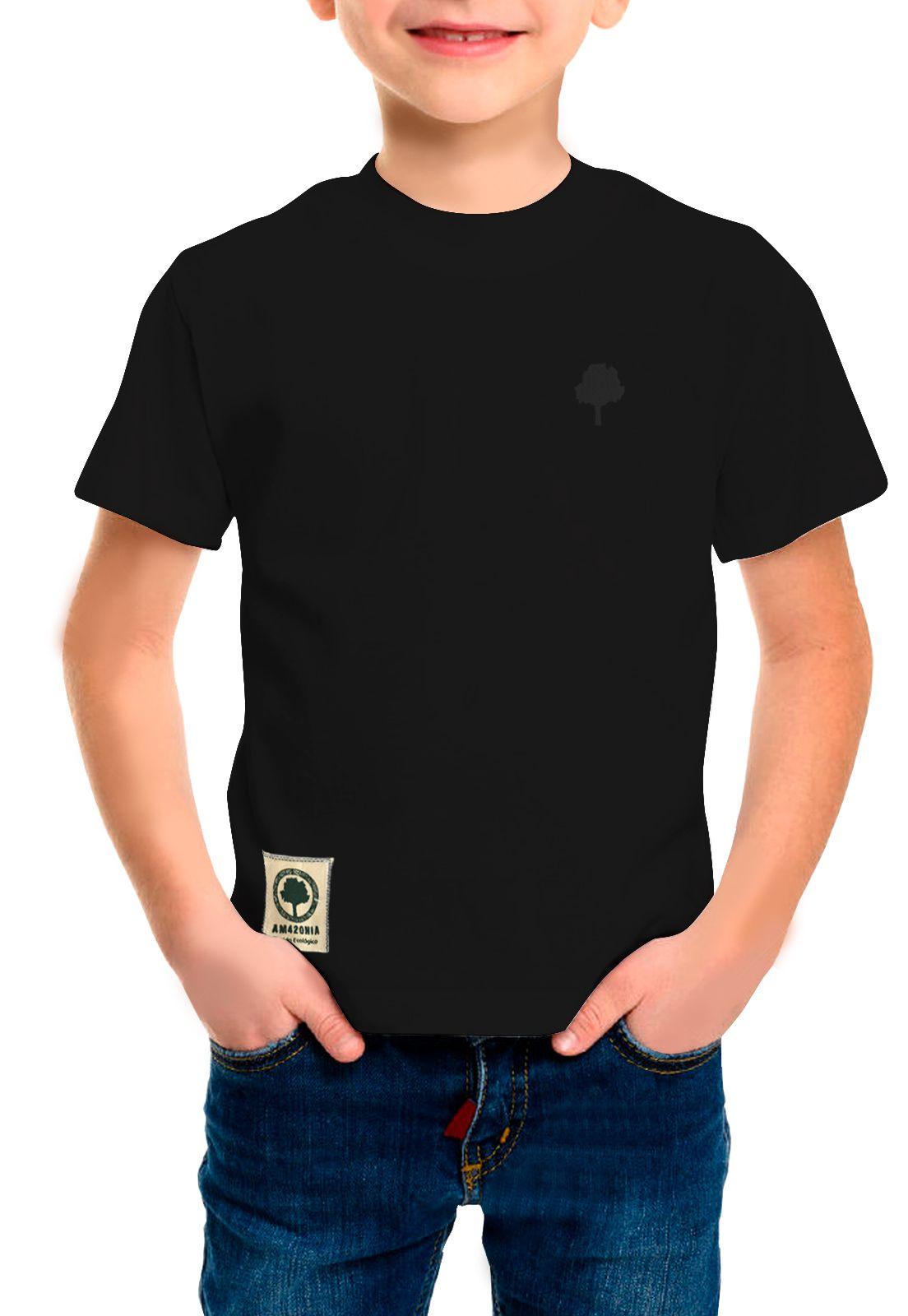Camiseta Amazônia Infantil Básica Árvore Bordada - Preto
