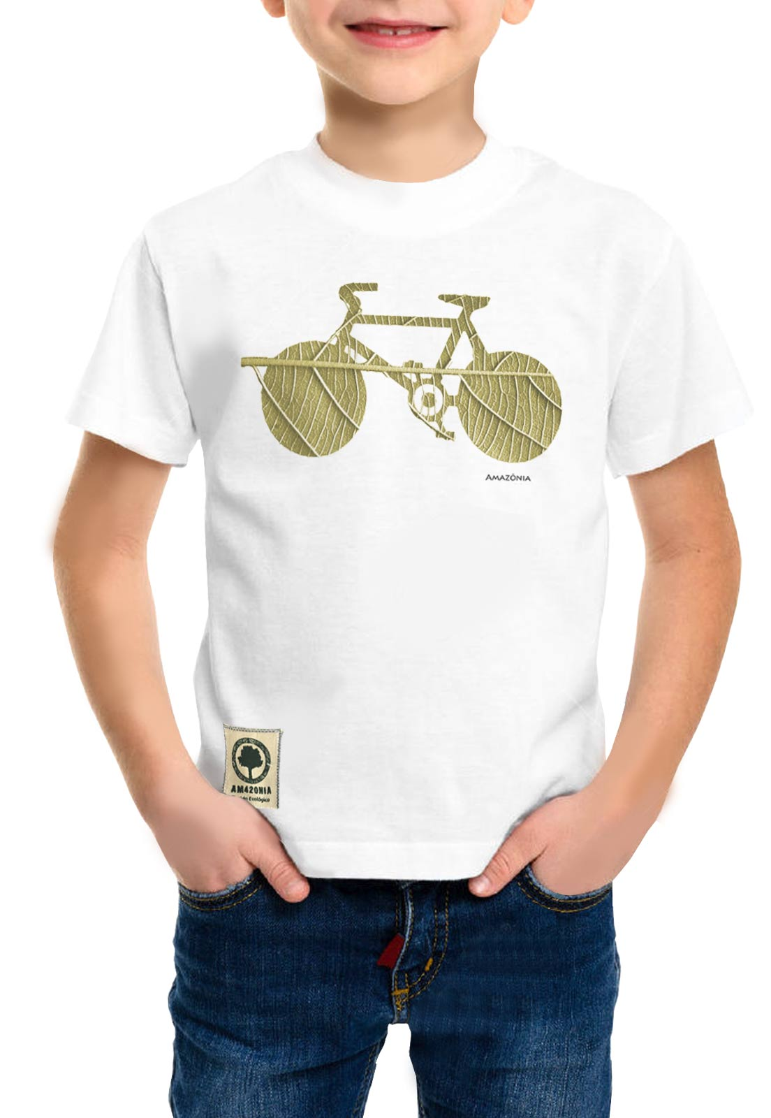 Camiseta Amazônia Infantil Bike Folha - Branco
