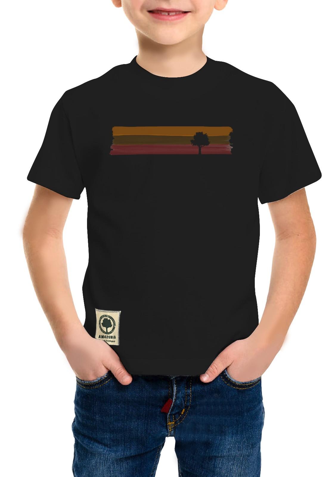 Camiseta Amazônia Infantil Listras de Tinta - Preto
