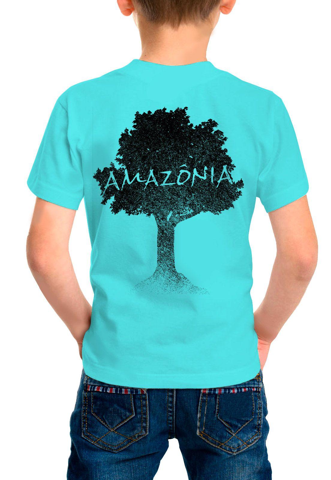Camiseta Amazônia Infantil Logo Terra - Azul Claro