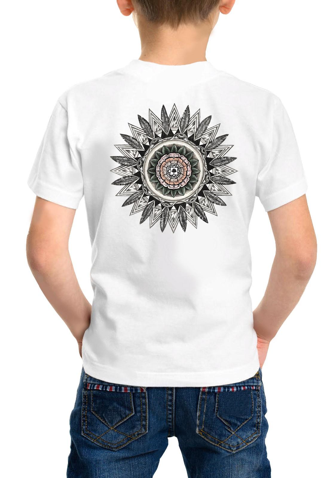 Camiseta Amazônia Infantil Mandala Pena - Branco