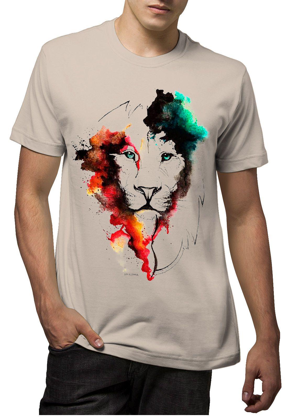 Camiseta Amazônia Leao Aquarela - Bege