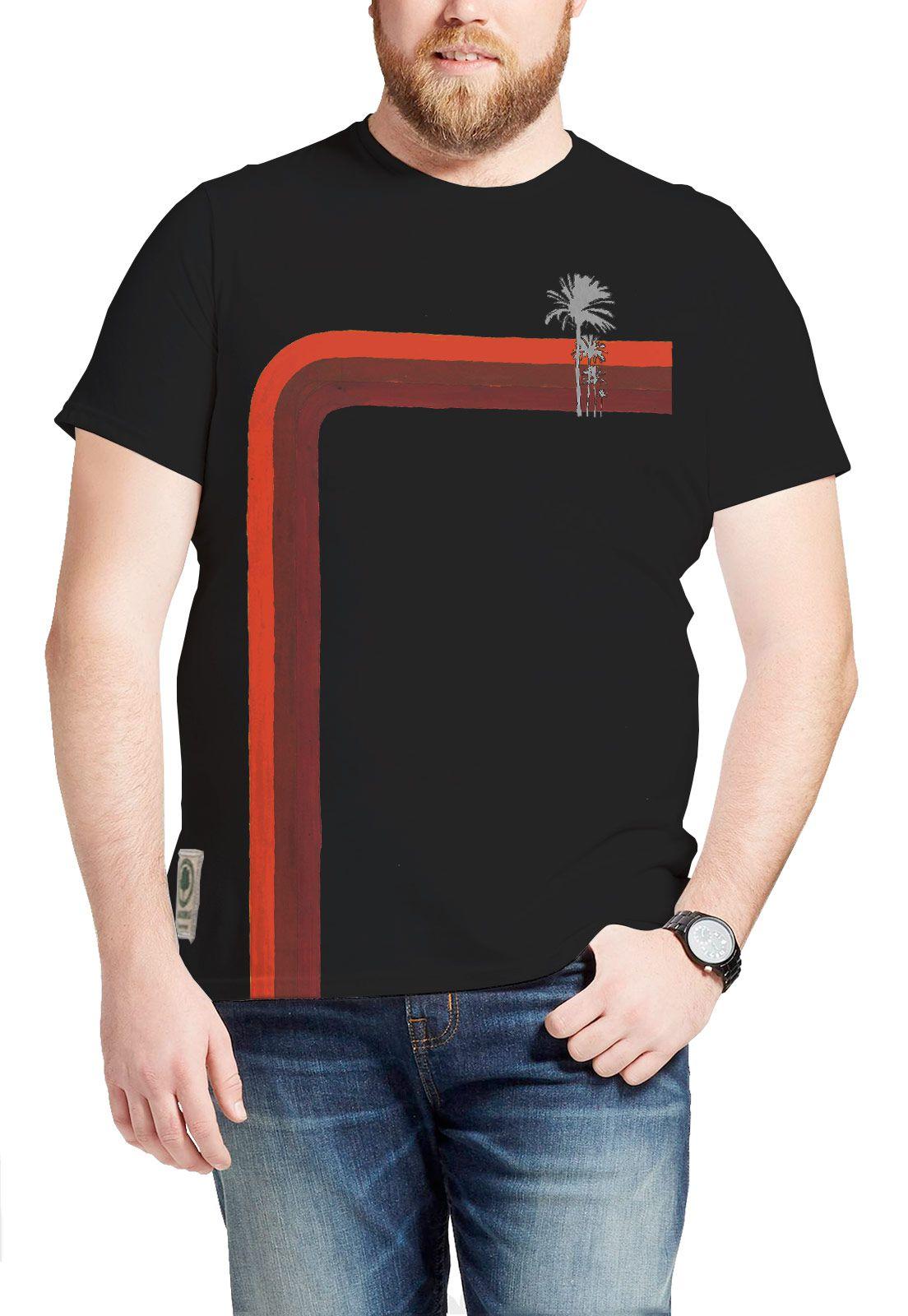 Camiseta Amazônia Listra Coqueiro - Preto