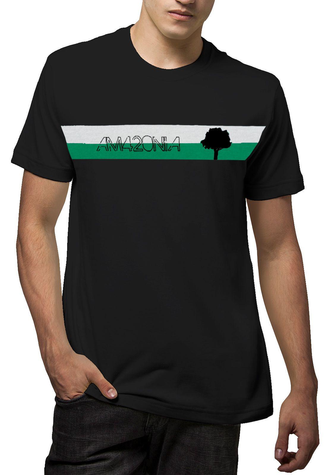 Camiseta Amazônia Listras Logo - Preto