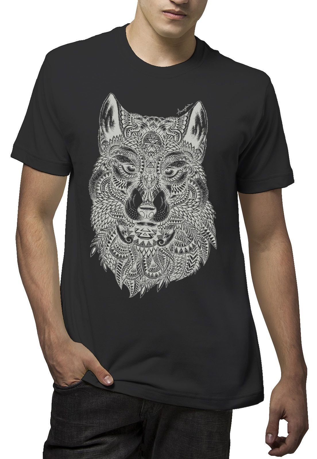 Camiseta Amazônia Lobo - Preto