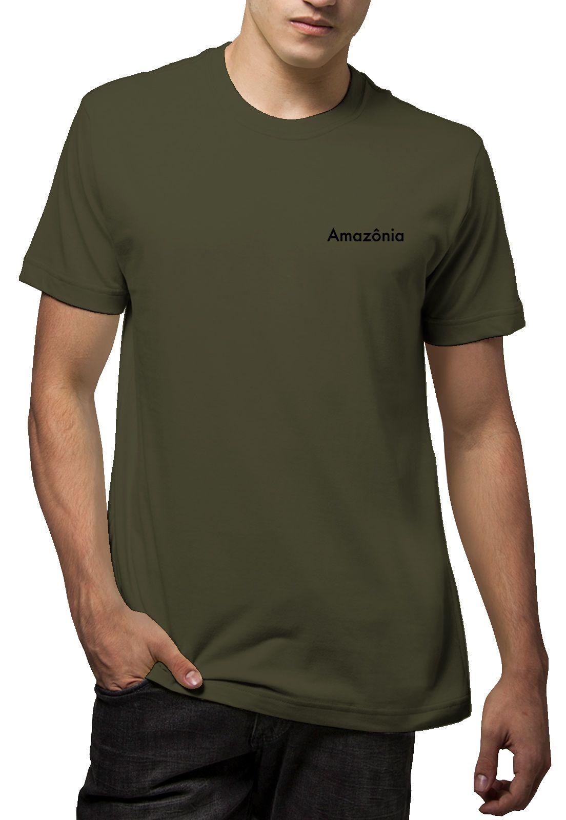 Camiseta Amazônia Logo Oficial - Verde Escuro