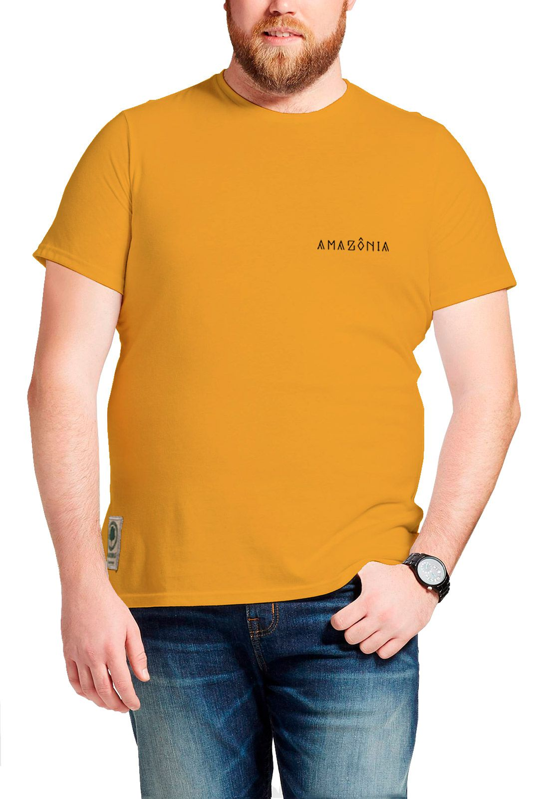 Camiseta Amazônia Macaco - Amarelo Escuro