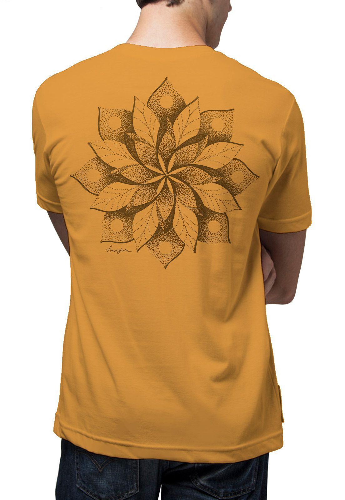 Camiseta Amazônia Mandala Flor - Amarelo Escuro