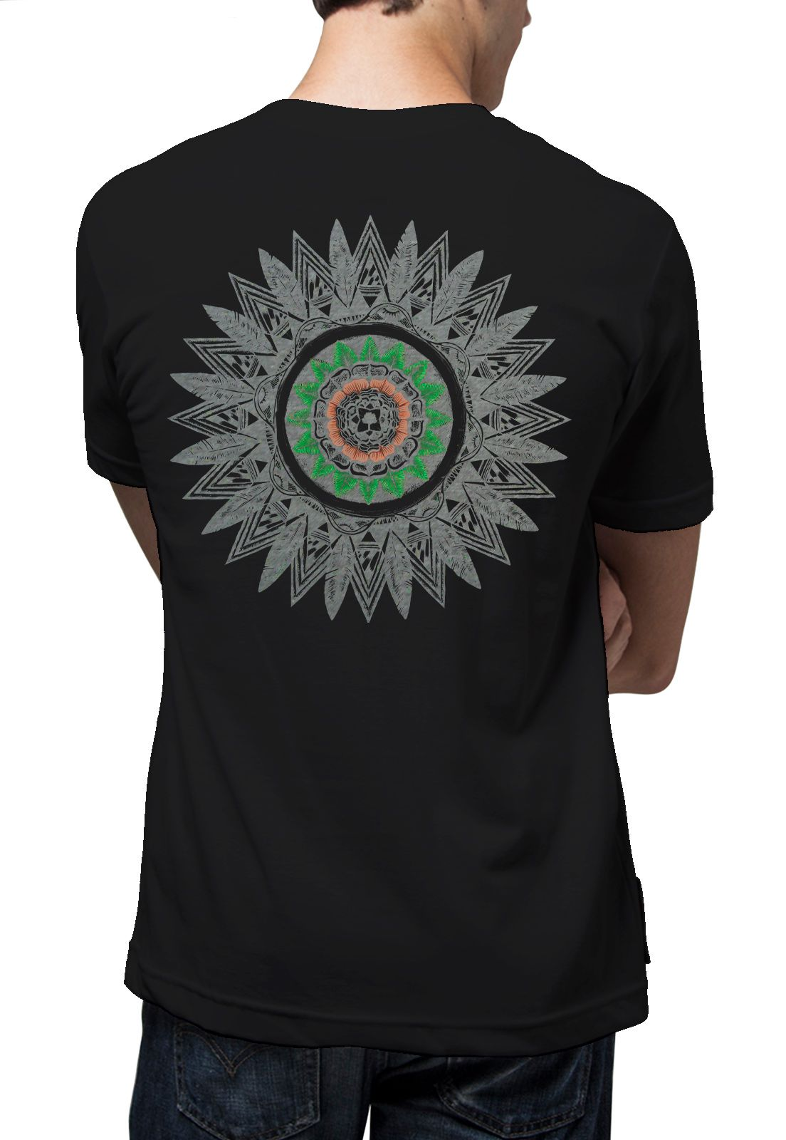 Camiseta Amazônia Mandala Pena - Preto