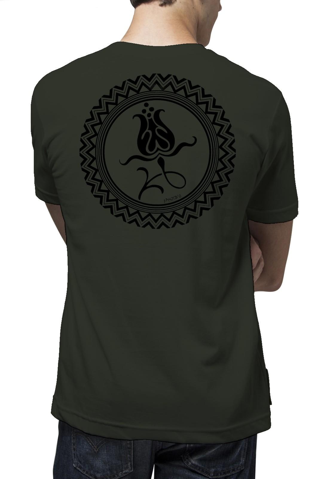 Camiseta Amazônia Mandala Tulipa - Verde Escuro