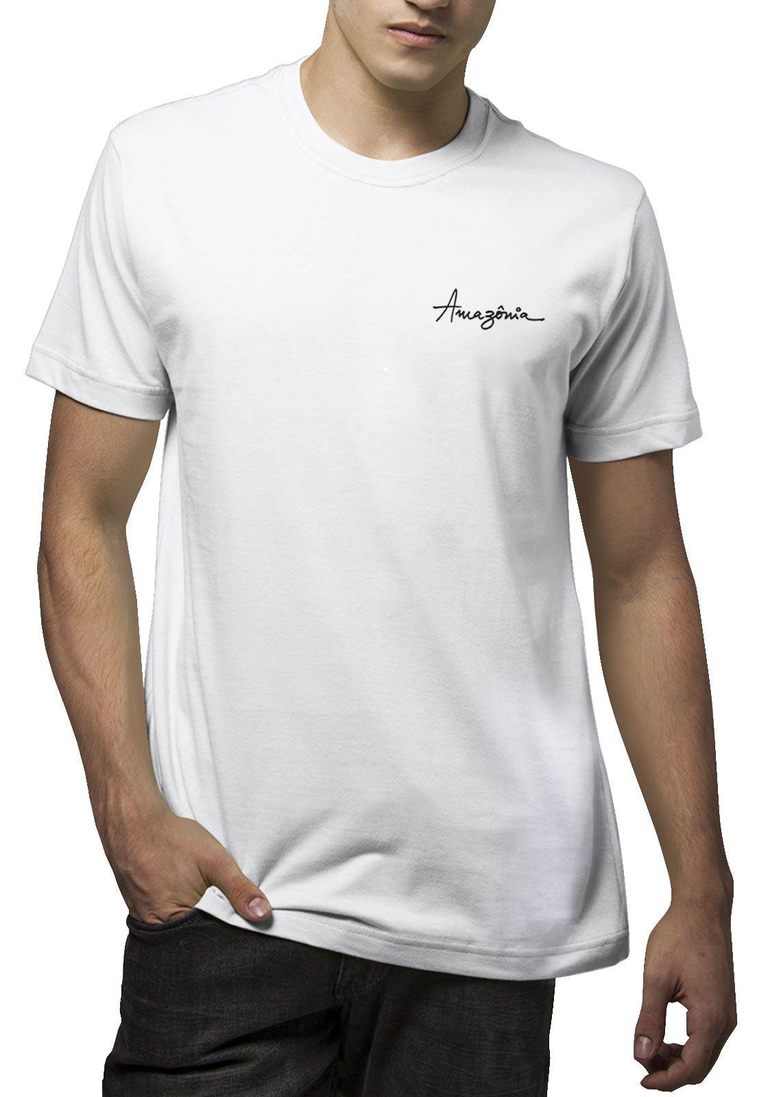 Camiseta Amazônia Mapa Aves - Branco