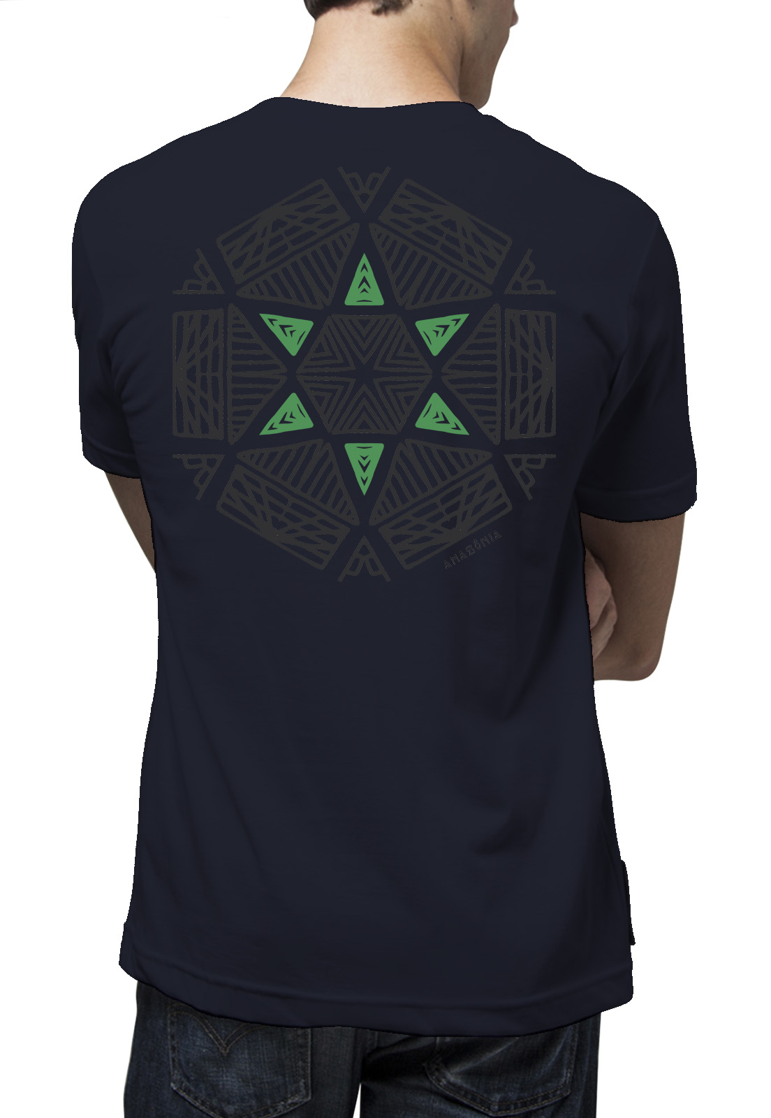 Camiseta Amazônia Oca Mandala - Azul Escuro