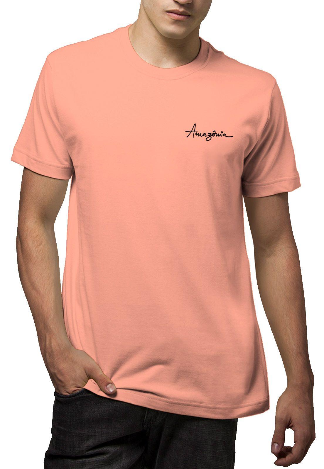 Camiseta Amazônia Onça Pintada - Salmão