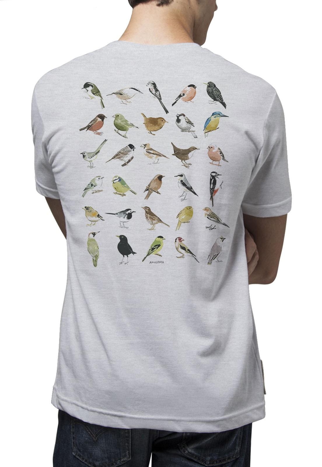 Camiseta Amazônia Ornitologia - Mescla Claro