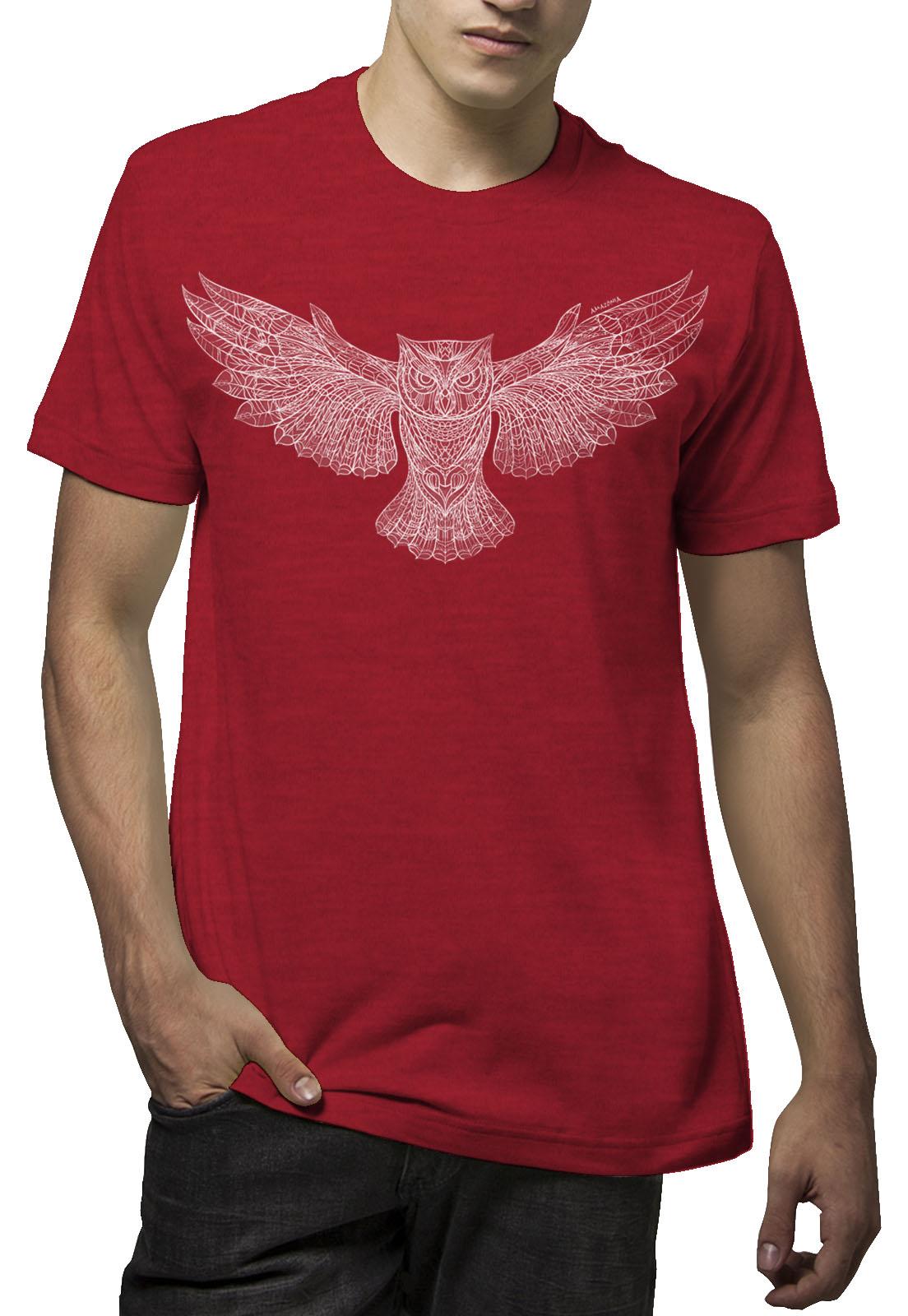 Camiseta Amazônia Owl Draw - Mescla Vermelho