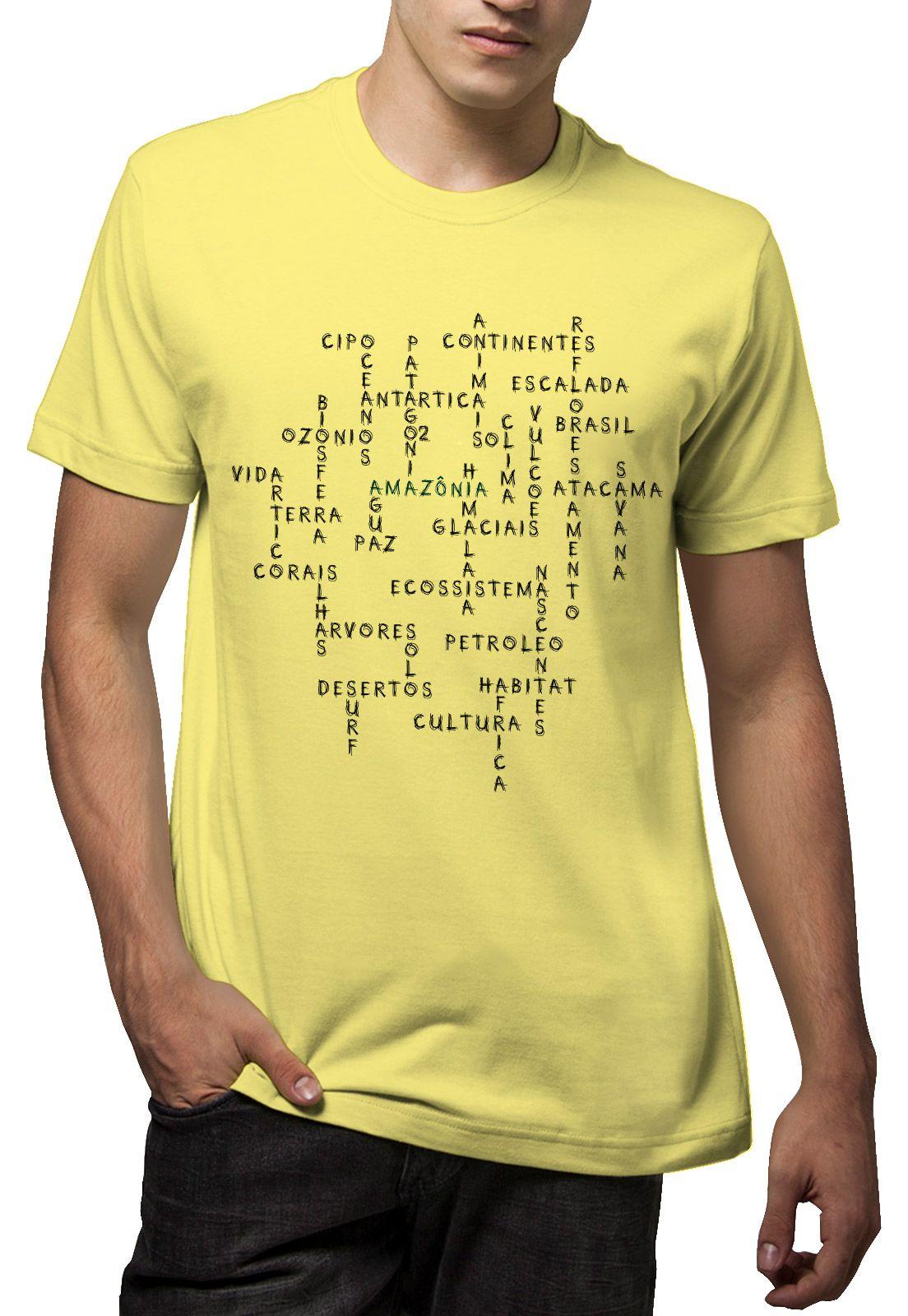 Camiseta Amazônia Palavras Natureza - Amarelo
