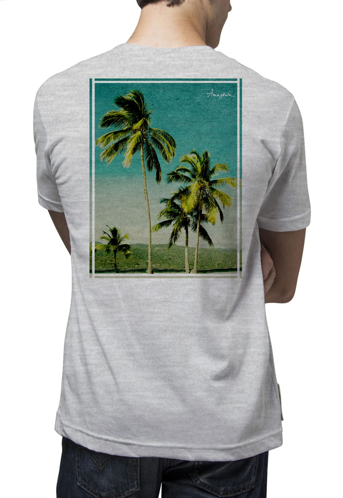 Camiseta Amazônia Paraíso - Mescla Claro