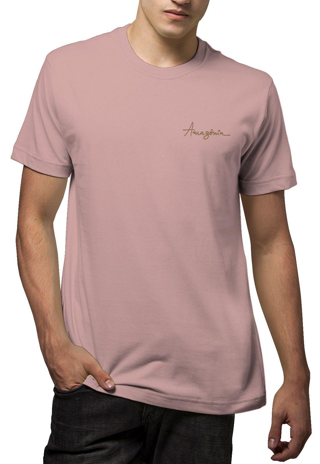 Camiseta Amazônia Pena Pássaros - Rosa Claro