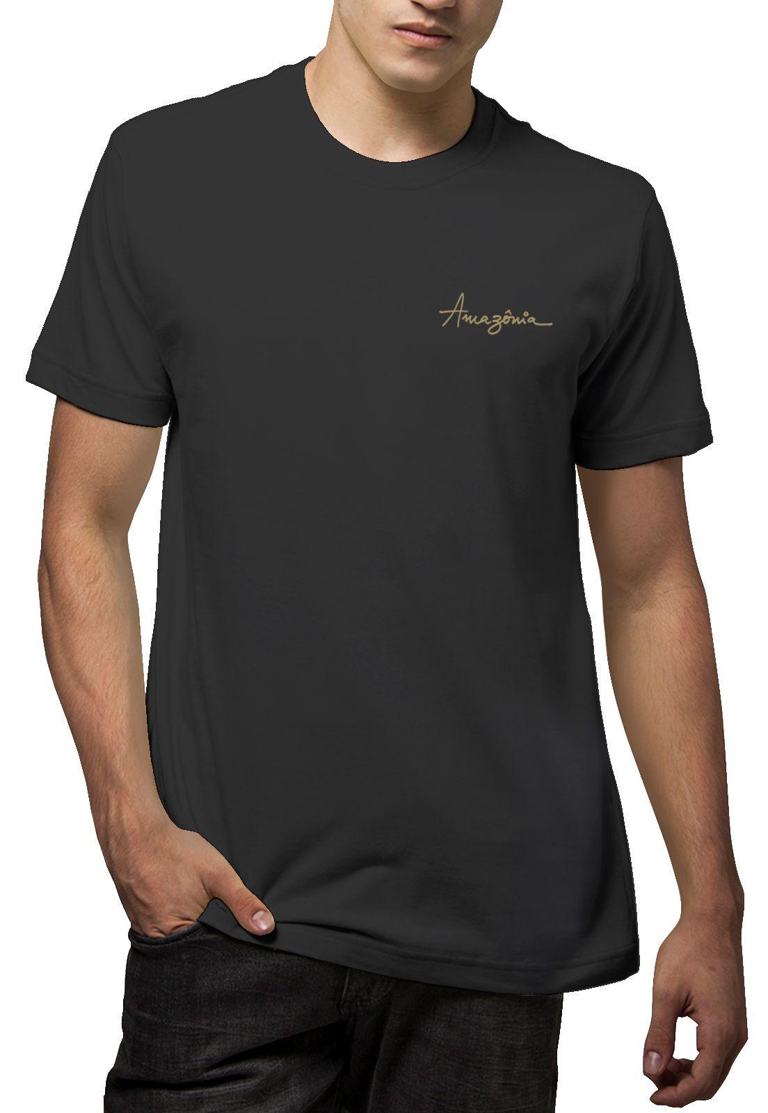 Camiseta Amazônia Penas Cosmos - Cinza Escuro